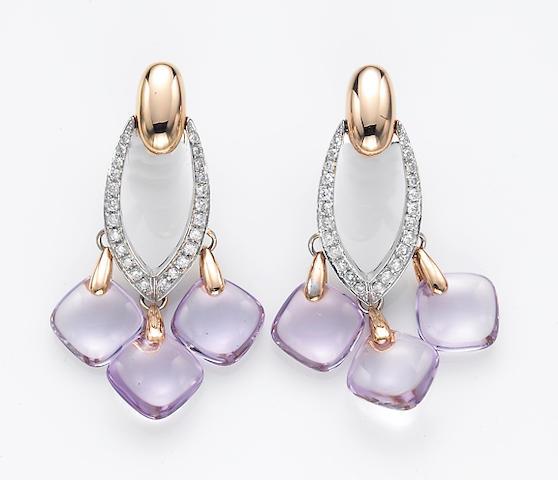 A pair of amethyst, diamond and eighteen karat bicolor gold earrings