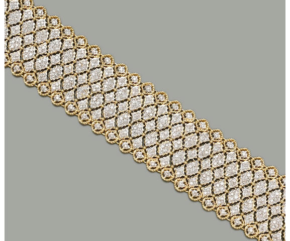A diamond and eighteen karat gold bracelet