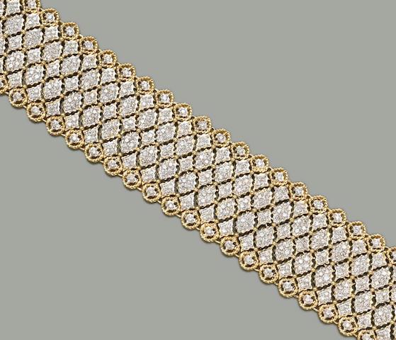 A diamond and eighteen karat gold bracelet