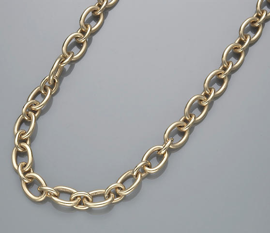 A fourteen karat gold cable link necklace, Tiffany & Co.