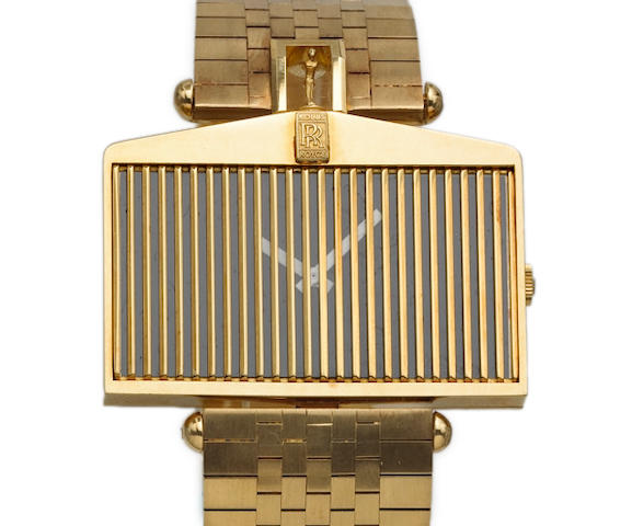 Corum. A fine and unusual 18k gold asymmetrical wristwatch in the form of a Rolls Royce grill on 18k gold Corum bracelet Ref.55585H12, 1980s