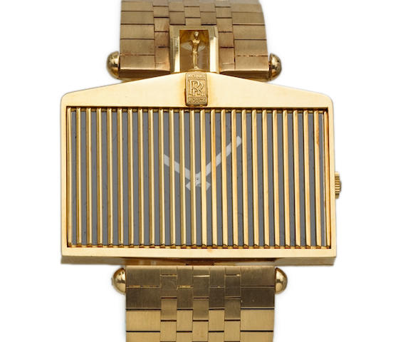 Corum. A fine and unusual 18k gold asymmetrical wristwatch in the form of a Rolls Royce grill on 18k gold Corum braceletRef.55585H12, 1980s