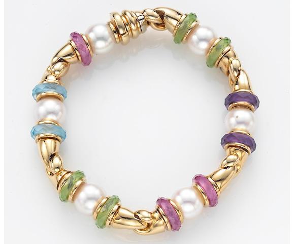 A multi-colored gemstone bead, cultured pearl and eighteen karat gold bracelet, Bulgari