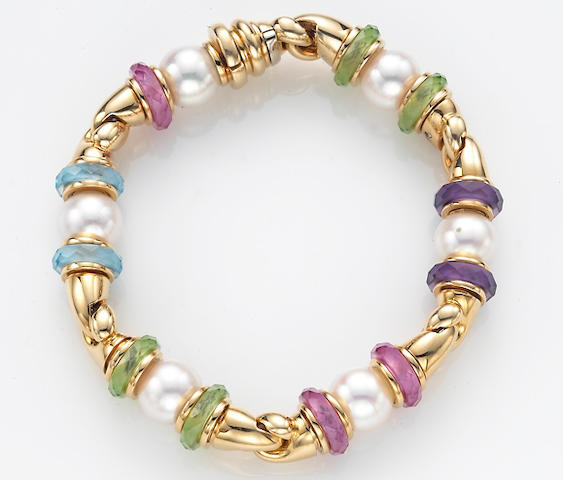 A multi-colored gemstone bead, cultured pearl and eighteen karat gold bracelet, Bulgari