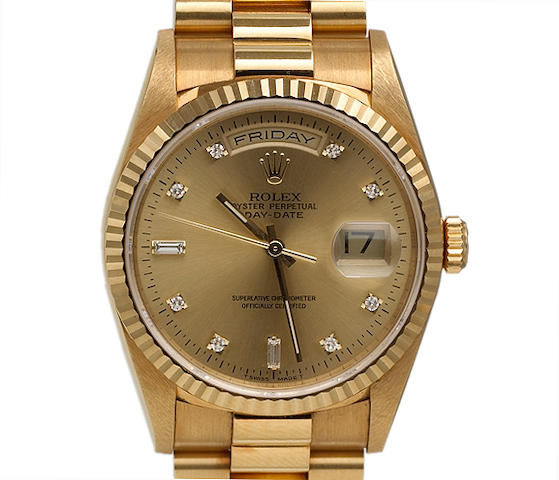 Rolex. A fine 18k gold self-winding day-date calendar bracelet watch with diamond set dial Oyster Perpetual Day-Date, Ref.18238, circa 1996