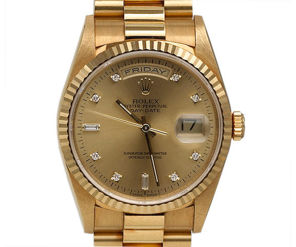 Rolex. A fine 18k gold self-winding day-date calendar bracelet watch with diamond set dialOyster Perpetual Day-Date, Ref.18238, circa 1996