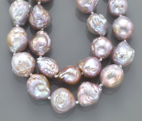 A baroque freshwater cultured pearl and fourteen karat gold necklace
