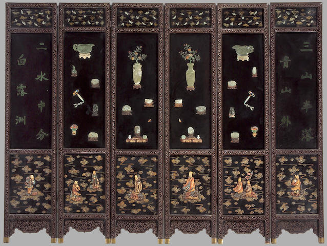 a lacquered wood six-panel floor screen mounted with carved jade, hardstone and ivory overlay decoration