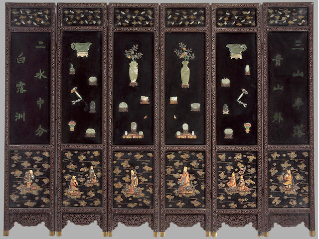 Chinese overlay decorated lacquer six-panel screen mounted with carved nephrite 'antiques'