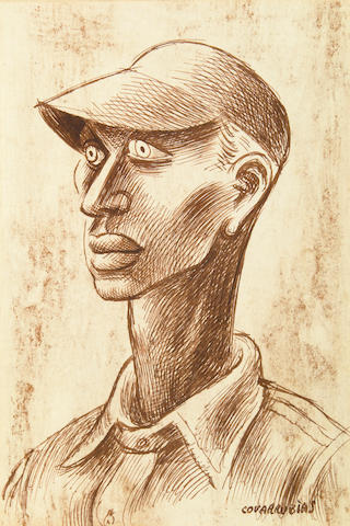 Miguel Covarrubias (Mexican, 1904-1957) Untitled (Satchel Paige) 7 1/2 x 5in (19 x 12.7cm)