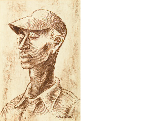 Authentication: Miguel Covarrubias, Man with Hat, ink on paper laid down