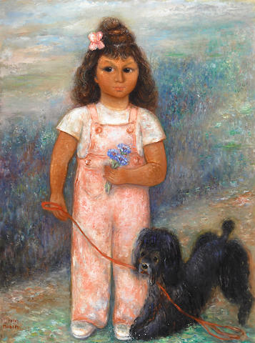 Authentication: Reuvin Rubin, Girl with Dog, oil on canvas