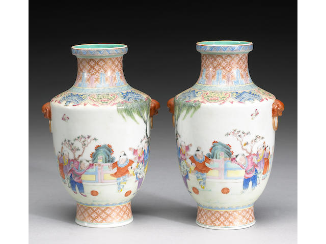 A pair of  famille rose enameled porcelain vases Qianlong Marks, 20th Century