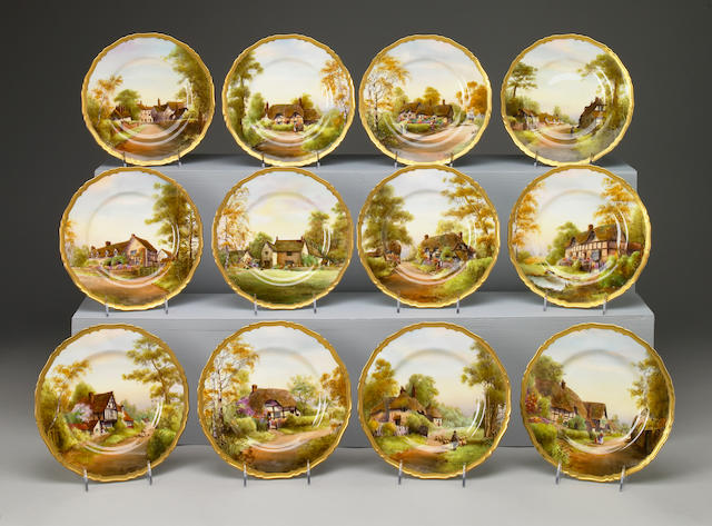 A set of twelve Royal Worcester porcelain cabinet plates