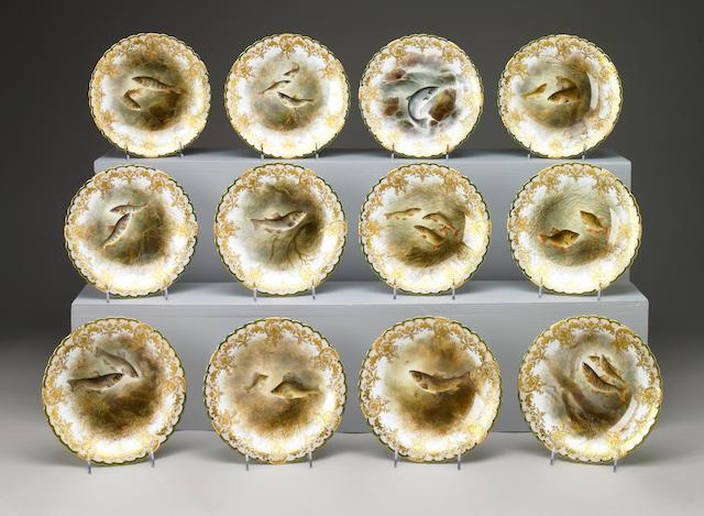 A set of twelve English porcelain ichthyological plates