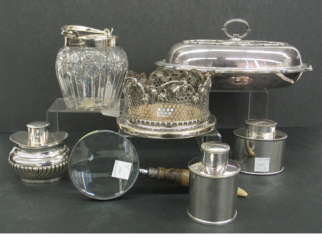An assembled grouping of silverplate