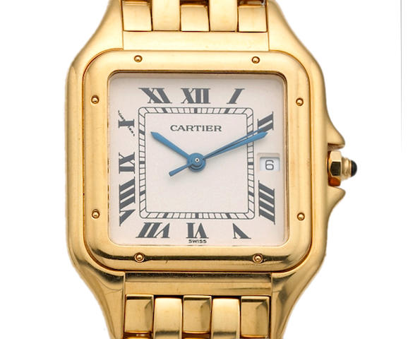 Cartier. A gents 18k gold quartz bracelet watch Santos, 1990s