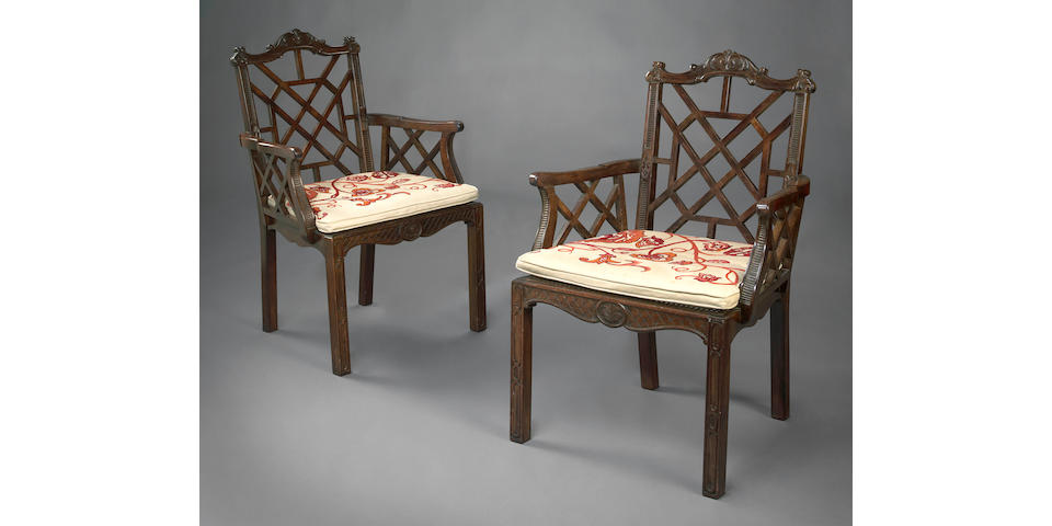 A pair of George III style mahogany open armchairs commissioned by William (Billy) Haines
