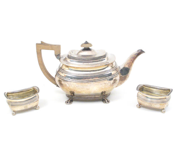George III Silver and Wood Teapot with Pair Silver Salts, all by Alice and George Burrows