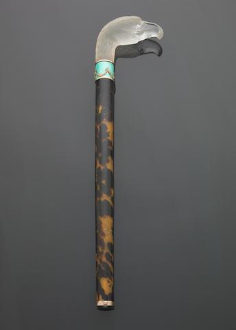 An Austrian rock crystal, guilloche enamel and tortoiseshell cane handle
