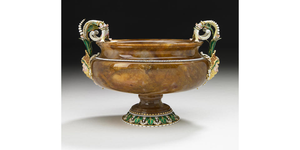 A good quality Austrian gold and enamel mounted agate bowl