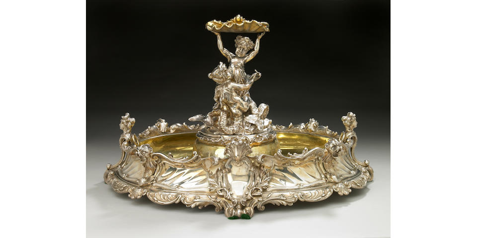 An Austrian figural silvered bronze table centerpiece