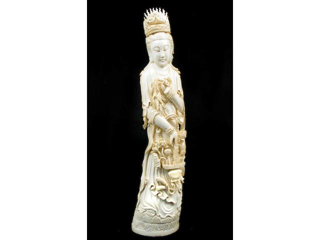 A Chinese ivory figure of Guanyin