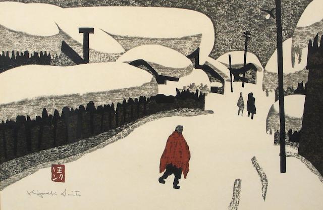 "Kiyoshi Saito ""Village Scene; Winter"""