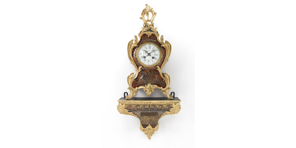 A Louis XV style gilt bronze mounted Boulle bracket clock