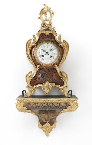 A Louis XV style gilt bronze mounted Boulle bracket clock