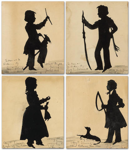 Four silhouette portraits of the Young family of New Orleans, LA and Natchez, MS