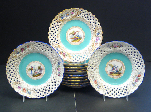 A set of twelve Meissen porcelain reticulated dessert plates