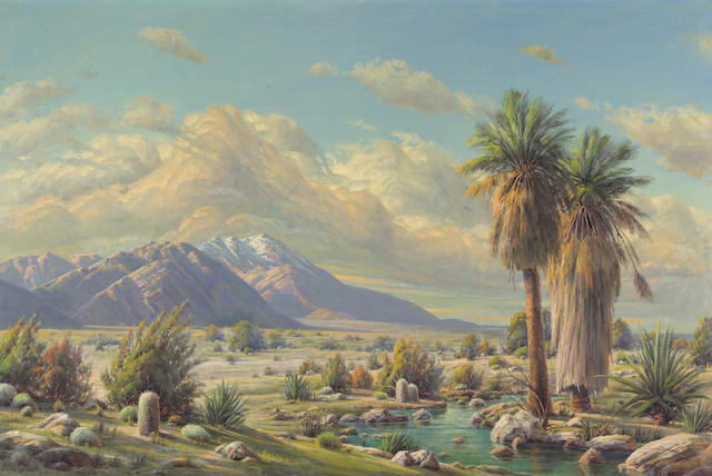 Paul Grimm (American, 1891-1974) Desert Oasis, 1946 40 x 60in