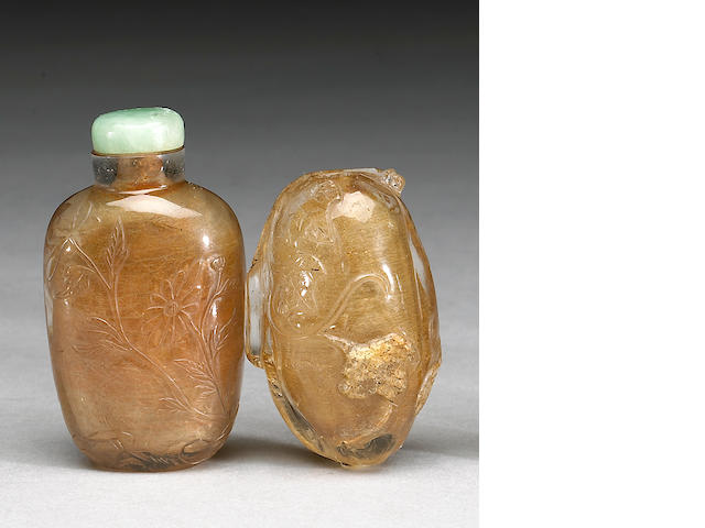 Two quartz snuff bottles, one melon form of rock crystal, one of rutile quartz