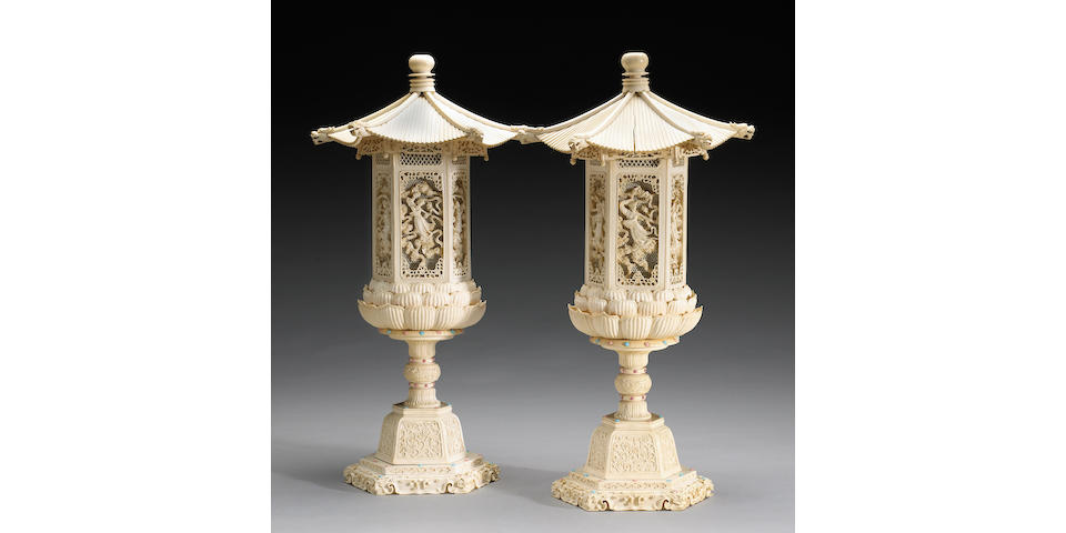A pair of carved and pieced ivory hexagonal lanterns