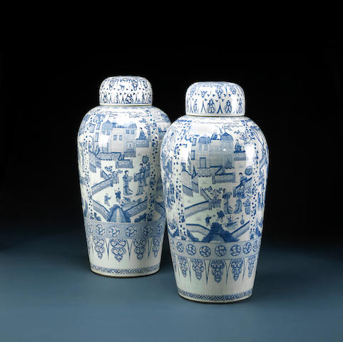 Two massive blue and white porcelain covered jars Kangxi Period