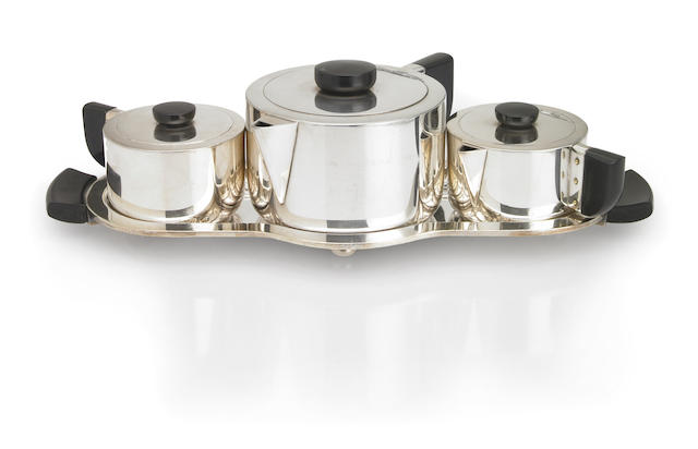A Wilcox S.P. Co. silver-plate and ebonised four-piece tea service