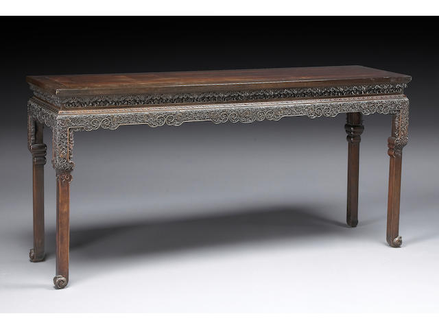 A fine zitan and mixed wood altar table (qiaotou'an) Early 19th Century