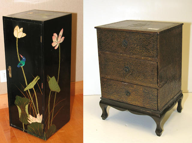A pair of Chinese black lacquered cabinets and a pair of lacquer decorated three drawer end tables