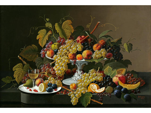 Severin Roesen (American, 1815-1872) Still Life of Fruit and Wine on a Table 30 x 44in