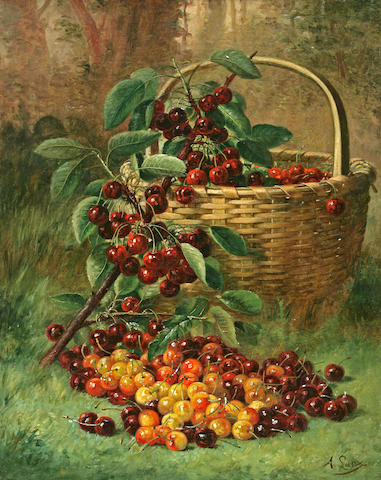 August Laux (American, 1847-1921) Still Life of a Basket of Cherries 20 x 16in