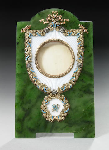A nephrite, guilloche enamel and gold photograph frame
