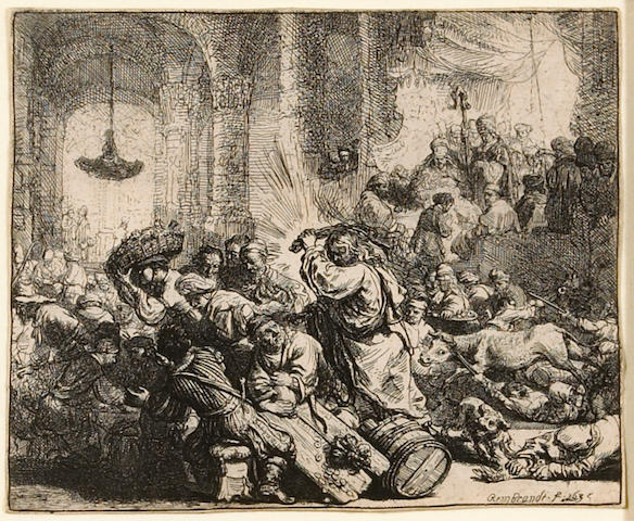 Rembrandt Harmensz van Rijn (Dutch, 1606-1669); Christ Driving the Money Changers from the Temple;