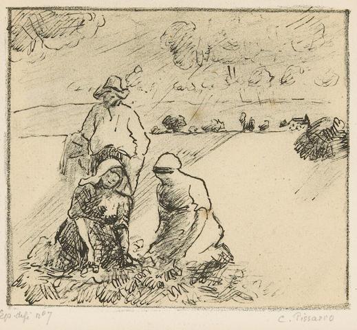 Camile Pisarro Groupe de Paysans (c. 1899) (b.188) lithograph
