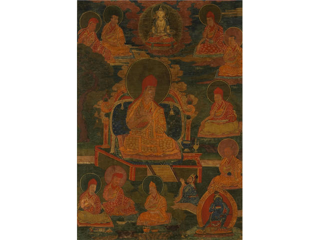 Two Tibetan paintings of enthroned gurus 19th Century