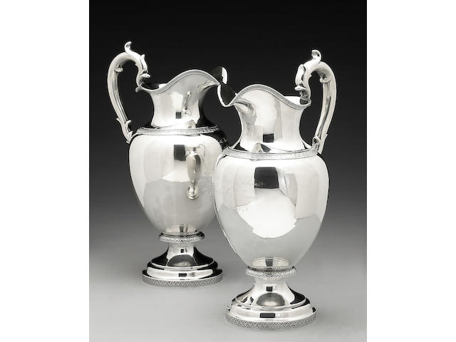 Pair of Silver Ewers with Presentation Inscriptions dated 1849,  Ball, Tompkins & Black