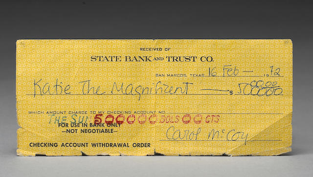 From the Katy Haber Collection  A $500,000 check from The Getaway,