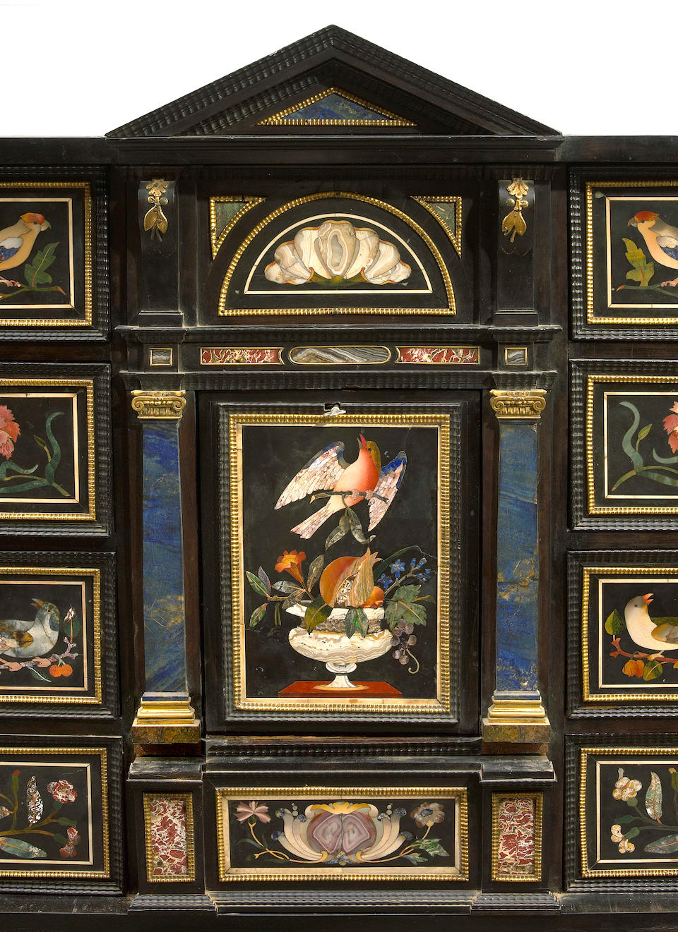 An impressive Italian ebonized and pietra dura mounted table cabinet