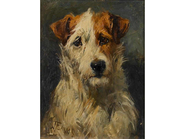 John Emms (British, 1843-1912) Fox terrier 9 x 7 in. (23 x 18 cm.)