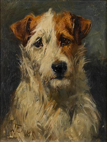 John Emms (British, 1843-1912) Fox terrier 9 x 7 in. (23 x 18 cm.)